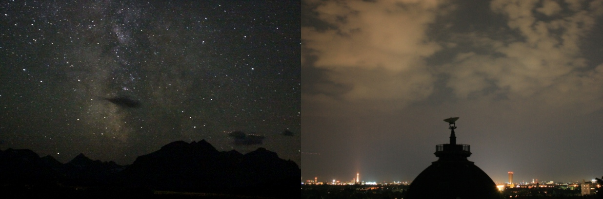 Effect of light pollution on clouds