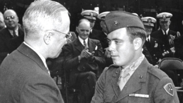Harry Truman congratulates Hershel Williams on being awarded the Medal of Honor