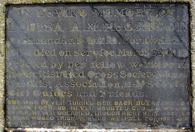 Plaque on Louisa A.M. McGrigor monument. Newlyn - geograph.org.uk - 927552