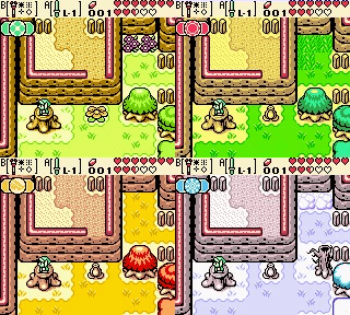 Four screenshots of the same area of the game in different seasons. Plants are light green in spring, dark green in summer, red and yellow in fall, and white and pale blue in winter. A tree blocks a passage in all seasons but winter, where the leaves have fallen and it is smaller.