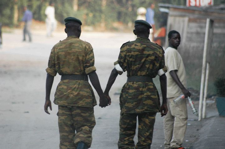 Soldiers Holding Hands