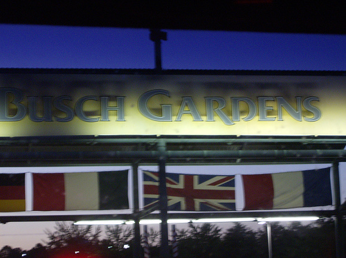 Entrance to Busch Gardens - flags