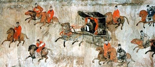 Dahuting Tomb mural, cavalry and chariots, Eastern Han Dynasty
