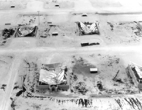 Collapsed hangars at Clark Air Base