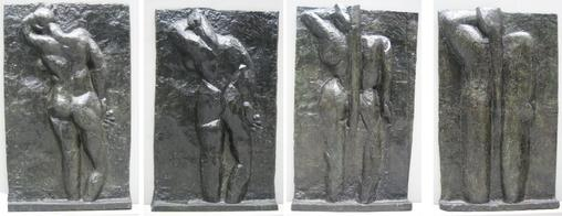 Matisse - left to right 'The Back I', 1908-09, 'The Back II', 1913, 'The Back III' 1916, 'The Back IV', c. 1931, bronze, Museum of Modern Art (New York City)