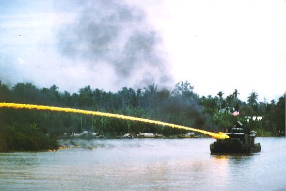 US riverboat using napalm in Vietnam