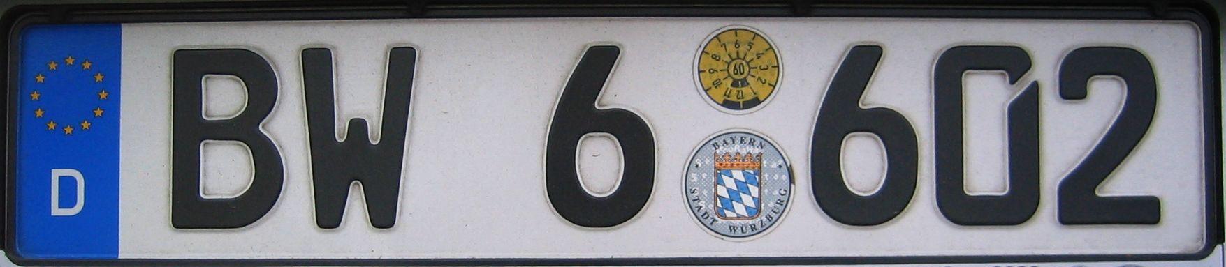 Deutsches Bundes Kennzeichen BW6 602 German car number plates