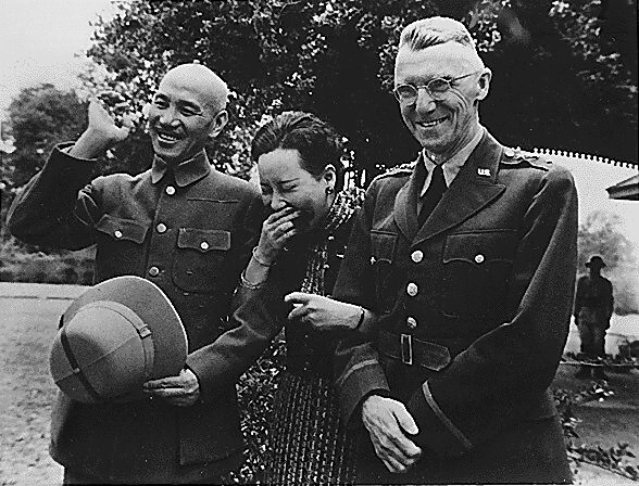 Chiang Kai Shek and wife with Lieutenant General Stilwell