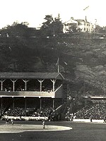 Polo grounds panorama-cropped to show Morris-Jumel Mansion