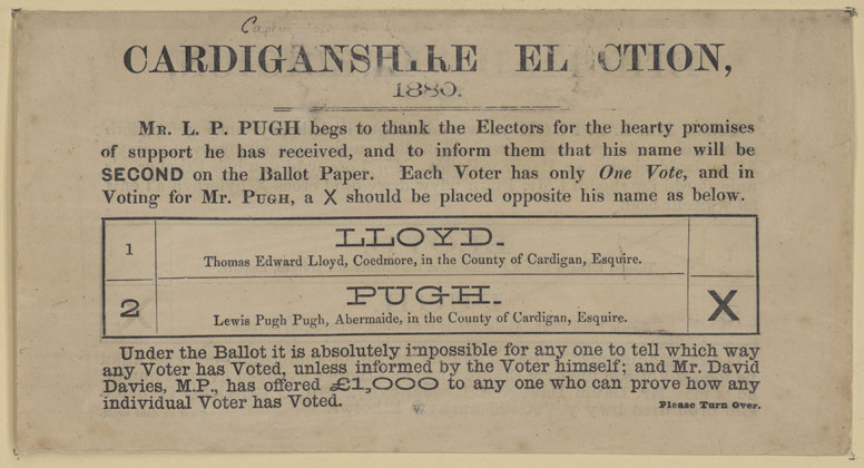 Cardiganshire Election ballot paper 1880