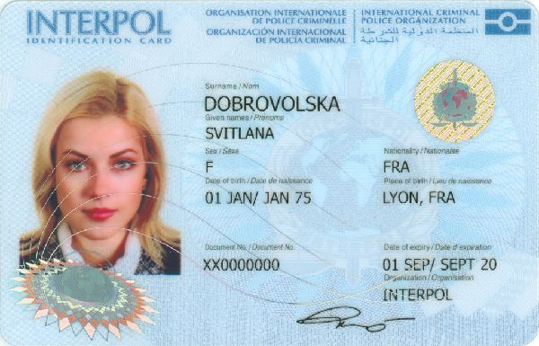 Interpol ID card front