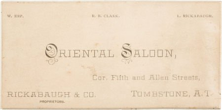 Oriental Saloon business card