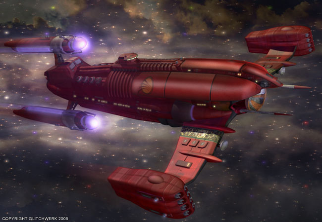 A computer generated image of a dark red spaceship.