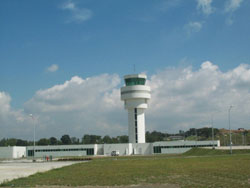White air-traffic control tower