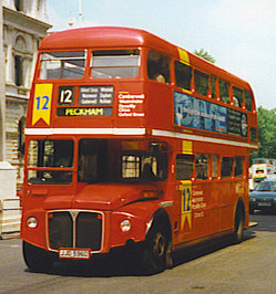 London Central Routemaster bus RML2596 (JJD 596D), route 12, Whitehall, July 1997, cropped