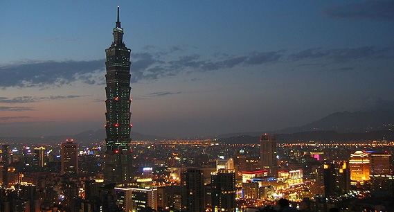 Taipei night view with 101