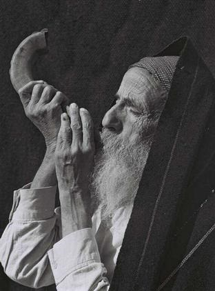 Yemenite Elder Blowing Shofat, February 1, 1949