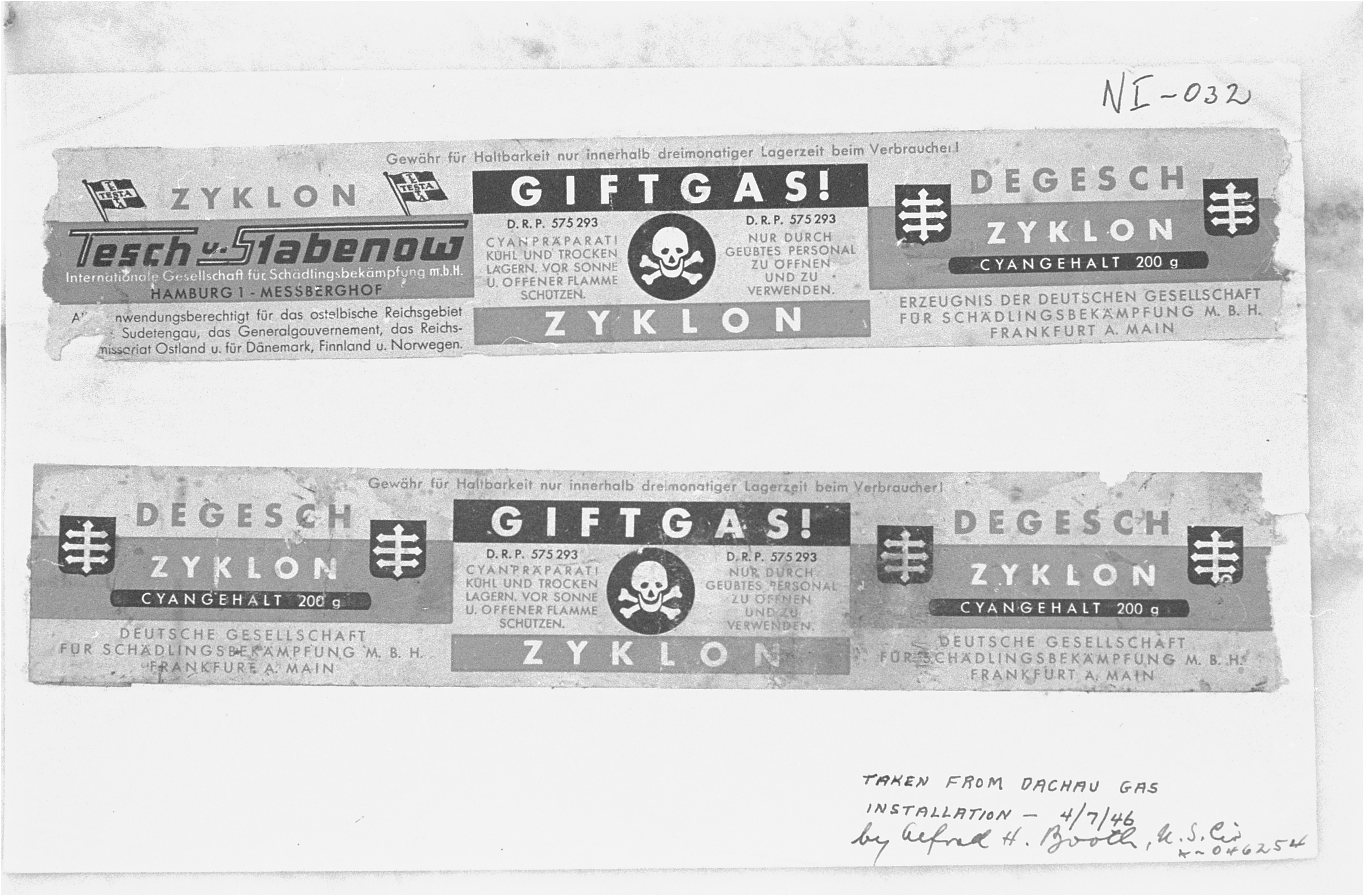 Zyklon B labels