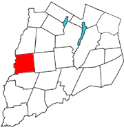 Otsego County map with the Town of Pittsfield in Red