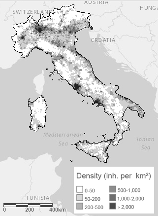Population density Italy 2011 census