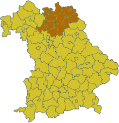 Map of Bavaria highlighting the  Regierungsbezirk of Upper Franconia