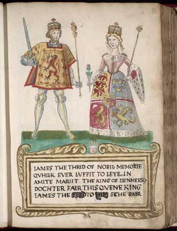 "A picture on a page in an old book. A man at left wears tights and a tunic with a lion rampant design and holds a sword and scepter. A woman at right wears a dress with an heraldic design bordered with ermine and carries a thistle in one hand and a scepter in the other. They stand on a green surface over a legend in Scots that begins ""James the Thrid of Nobil Memorie..."" (sic) and notes that he ""marrit the King of Denmark's dochter."""