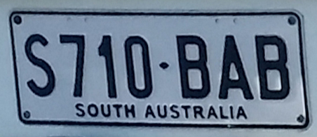 General issue vehicle registration plate of South Australia, standard size, S710 BAB (2015-08-23)