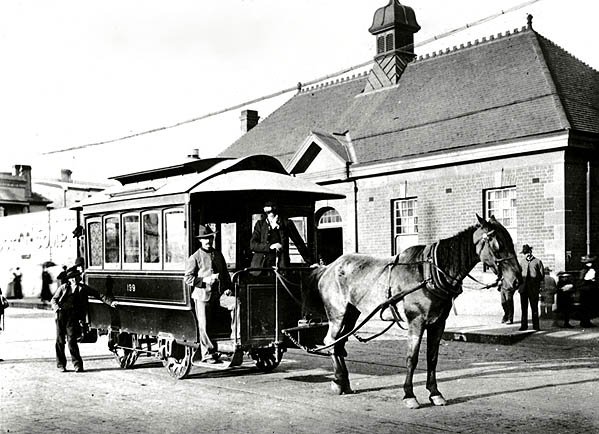 Horsedrawn tram which ran between Newtown Station and St Peters
