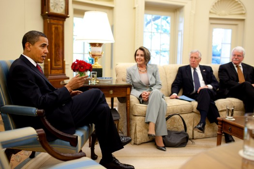 Barack Obama meets with Nancy Pelosi, Steny Hoyer & George Miller 5-13-09