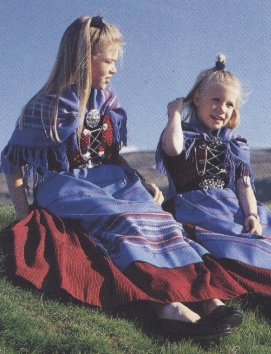 Two girls in Faroese costume