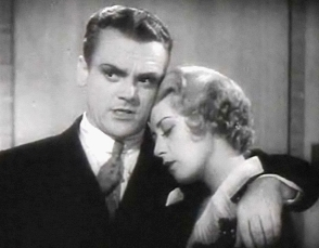 Cagney with his arm around actress Joan Blondell, who has her eyes closed