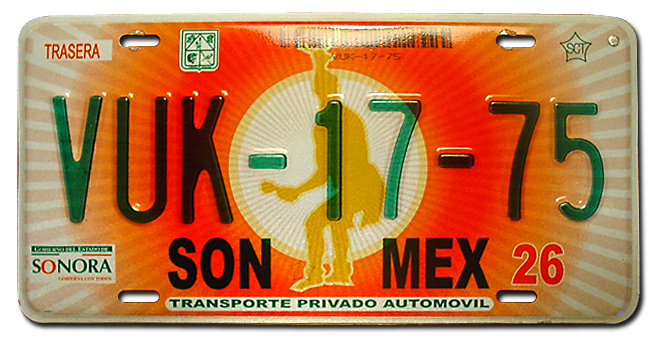 Sonora mexico license plate