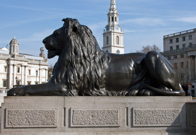 Bronze lion and church spire, Trafalgar Square - geograph.org.uk - 1600280