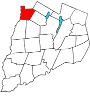 Otsego County map with the Town of Plainfield in Red