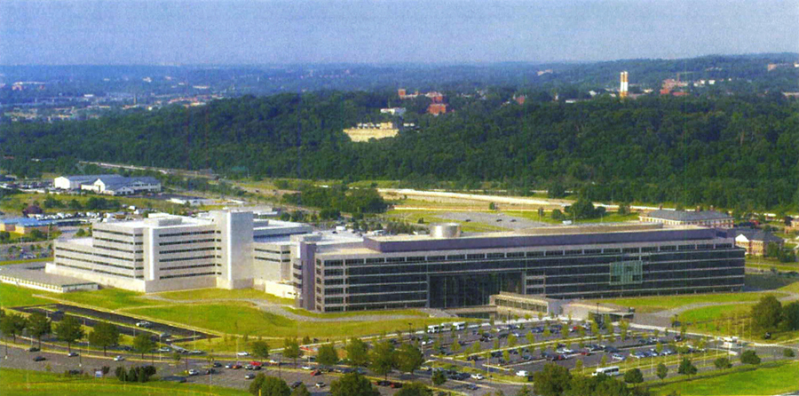 Bird's eye view of the Defense Intelligence Agency (DIA) Headquarters from Potomac, Washington DC