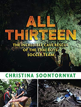 Book cover depicting three images from the cave rescue
