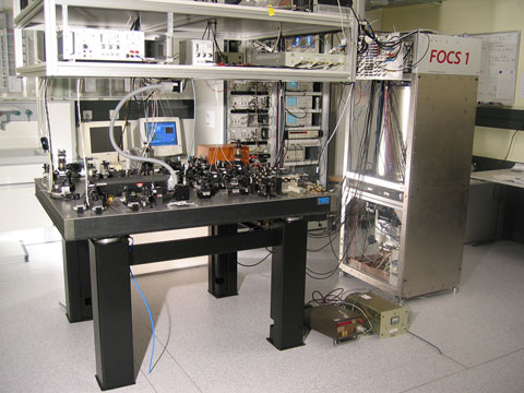 A laboratory table with some optical devices on it.