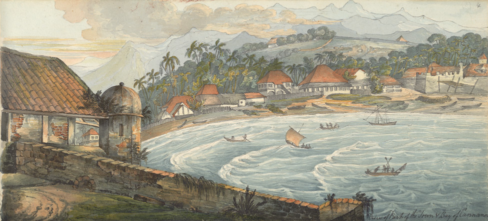 Town and bay of Kannur by Thomas Cussans