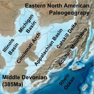 Eastern North American Paleogeograpy Middle Devonian