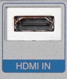 An HDMI type A receptacle connector on a device with the words HDMI IN below it.