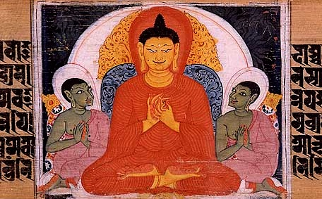 color manuscript illustration of Buddha teaching the Four Noble Truths, Nalanda, Bihar, India