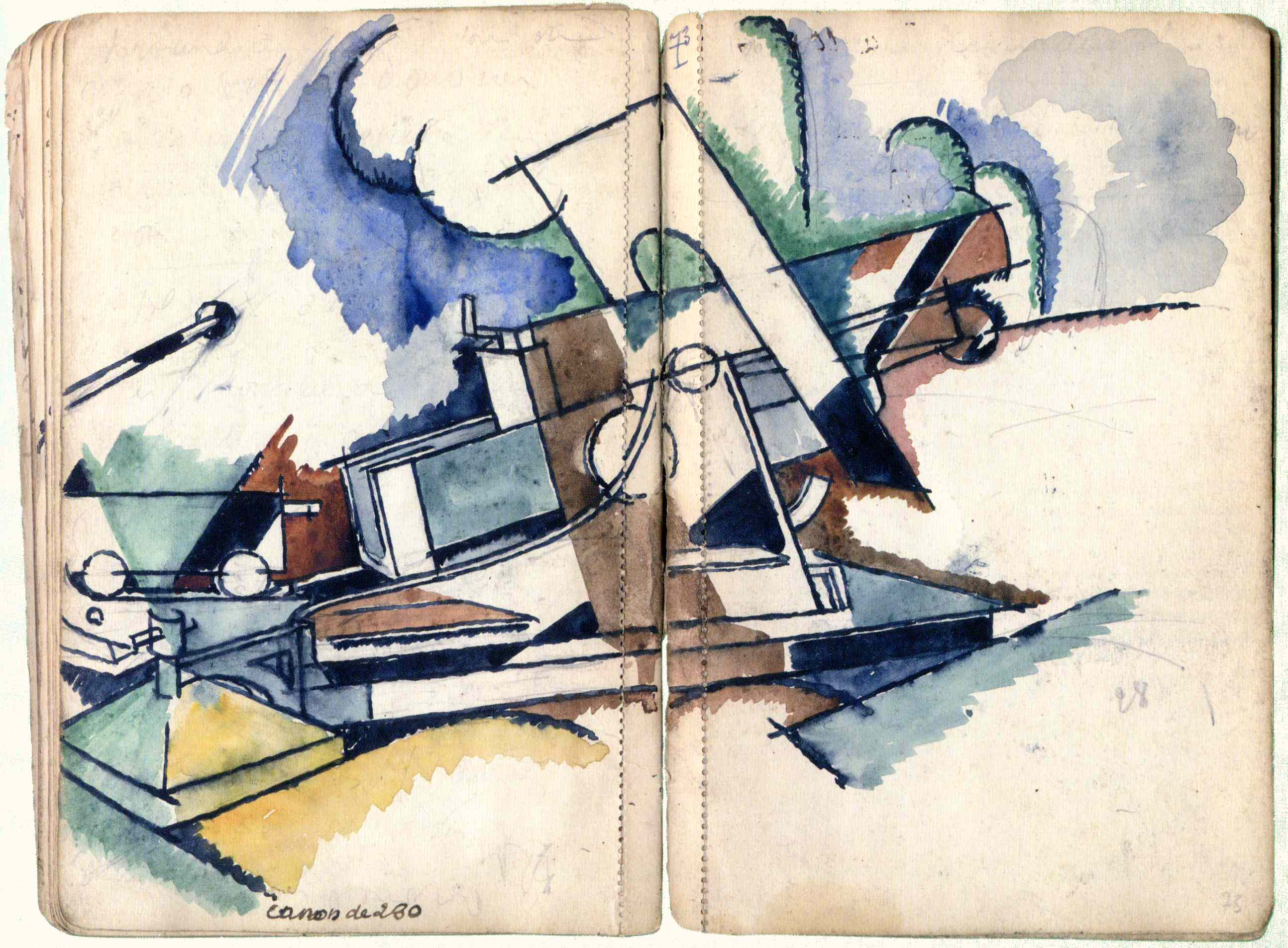 André Mare 1885-1932 Camouflaged 280 Gun sketch in ink and watercolour