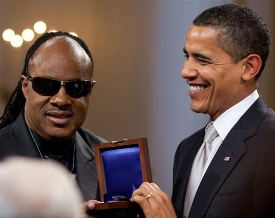 Barack Obama presents Stevie Wonder with Gershwin Award crop