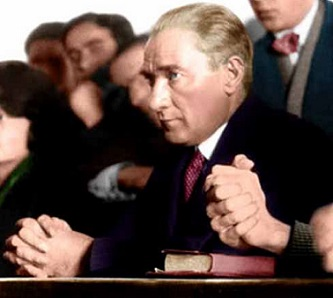 Ataturk attends a university class
