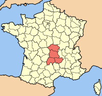 Location of Auvergne (in red)
