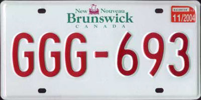 New Brunswick License Plate 2004