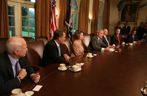 President George W. Bush bipartisan economic meeting Congress, McCain, Obama