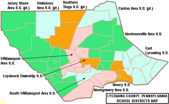 Map of Lycoming County Pennsylvania School Districts