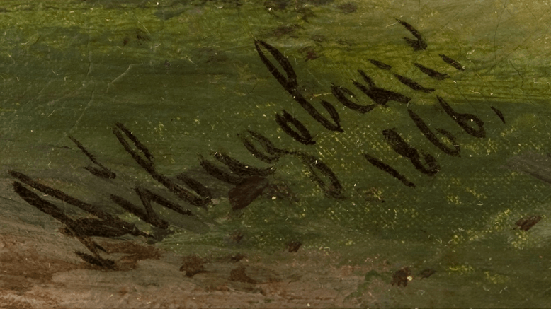 Aivazovsky's signature on oil painting from 1866
