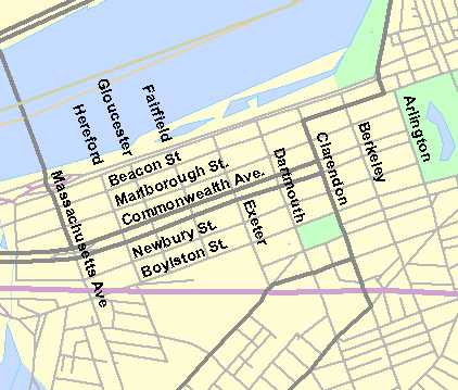 Street map of Back Bay